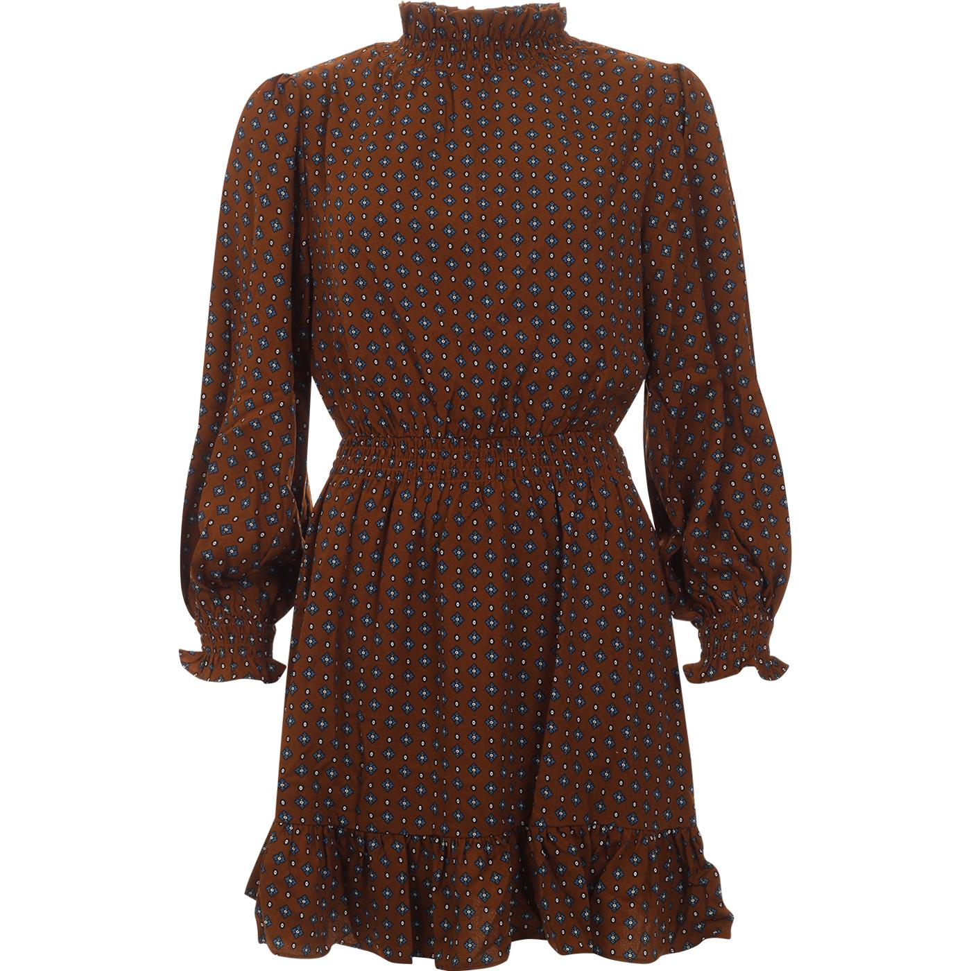 Alana LOUCHE Shirring Collar Vintage Stamp Dress