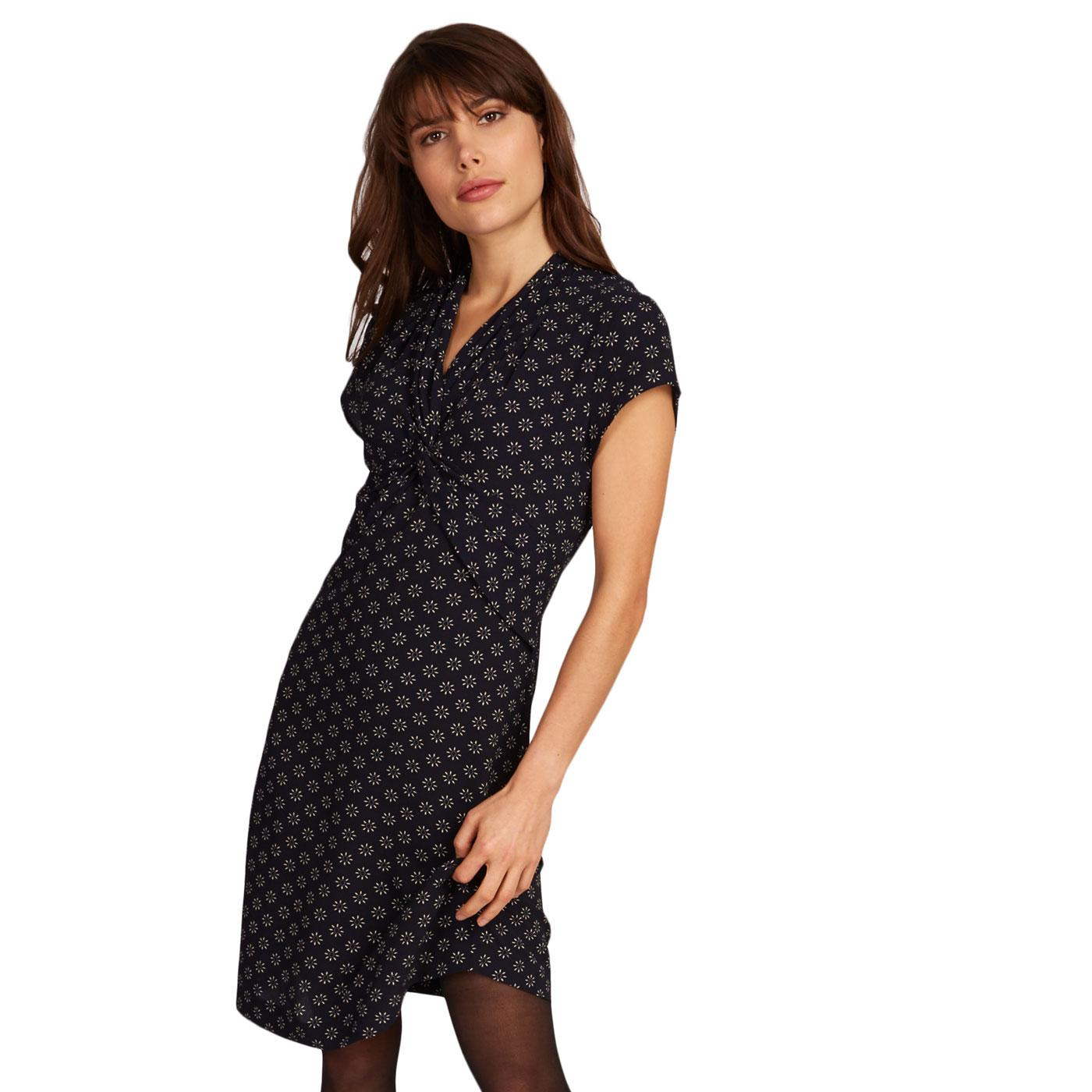 Iseline LOUCHE Retro Patterned Knot Dress In Navy