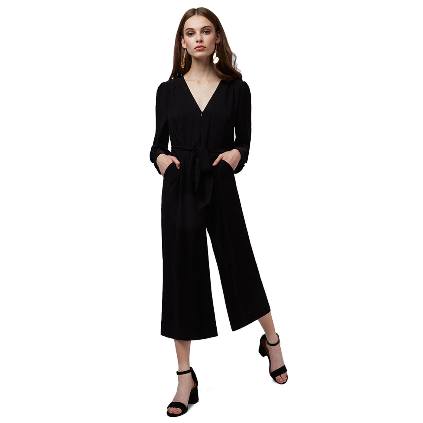 Cordelia LOUCHE Retro 70s Black Cropped Jumpsuit