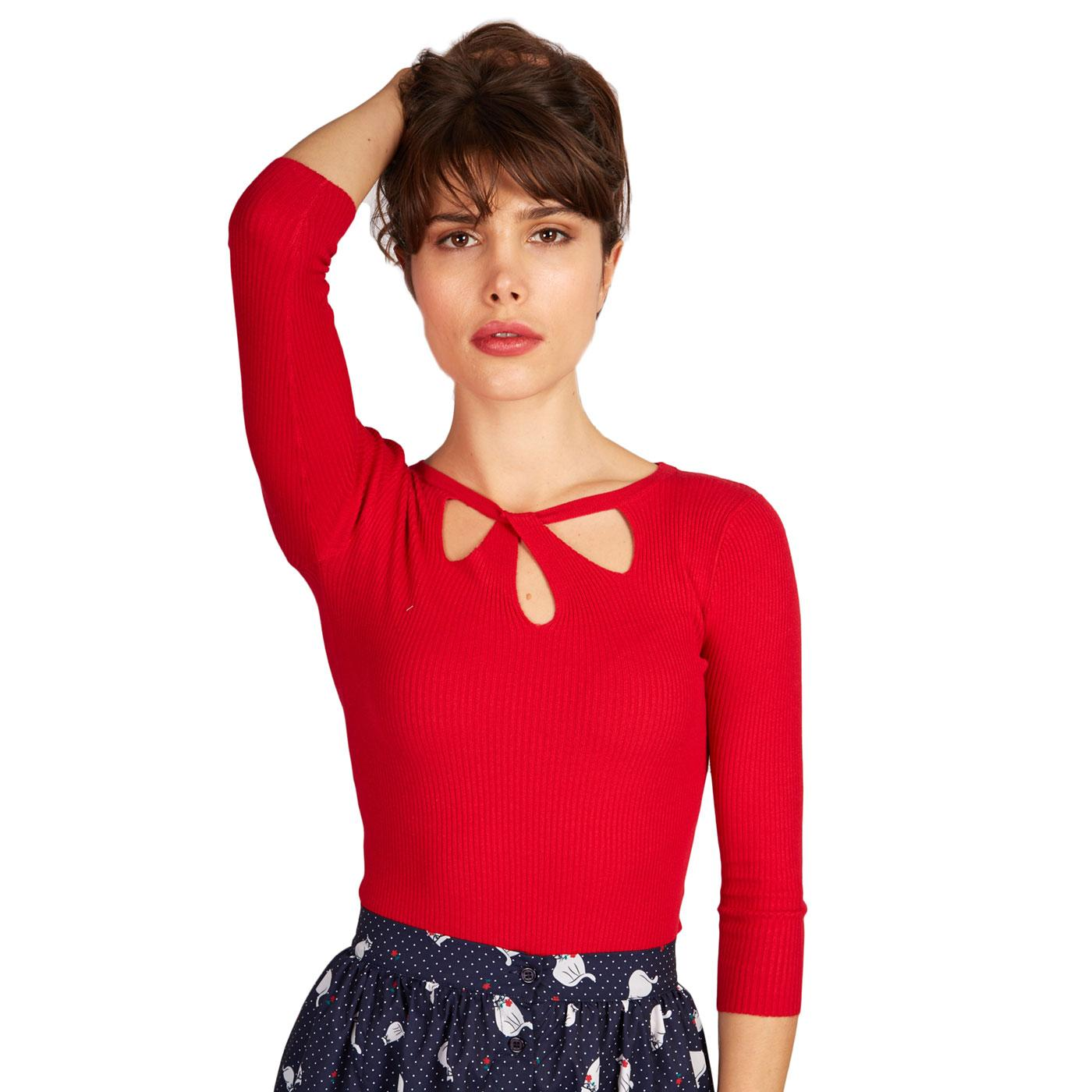 Lylou LOUCHE Retro Vintage Twist Collar Top in Red