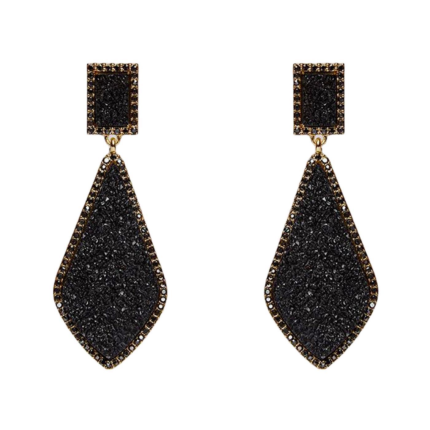 +Naomi LOUCHE Crystal Drop Stud Earrings In Black