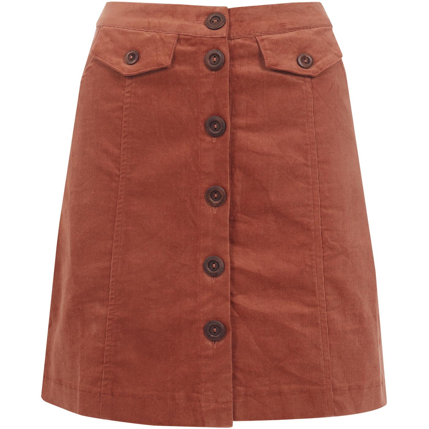 Neola LOUCHE Button Through Cord Skirt Dark Peach