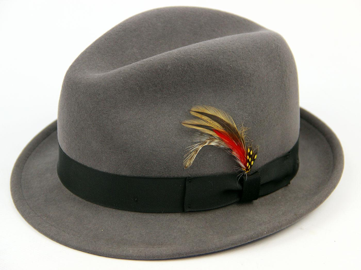 Retro Indie Mod Lite Felt Stingy Fedora Hat (Grey)