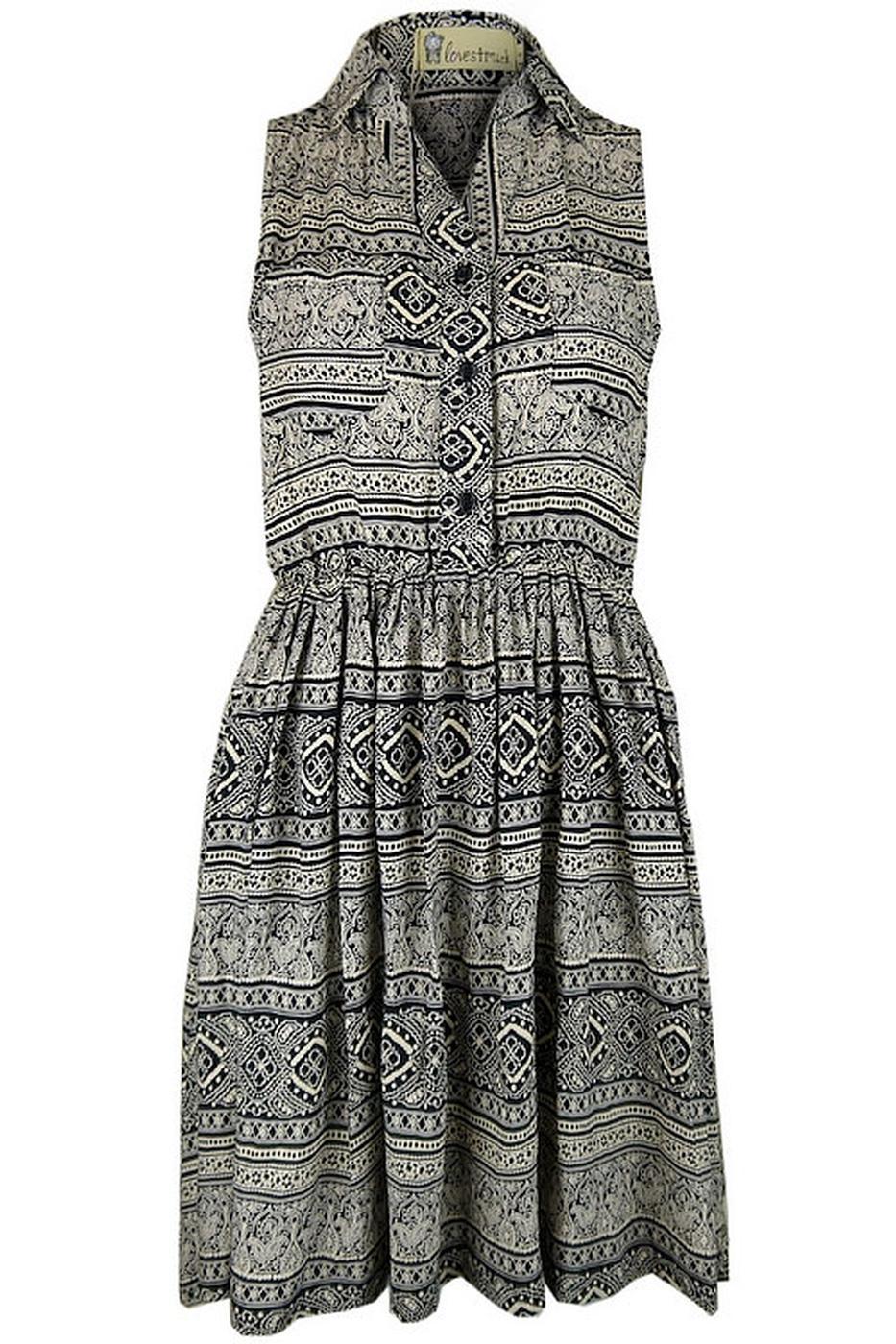 Amanda LOVESTRUCK Retro Folk Print Shirt Dress