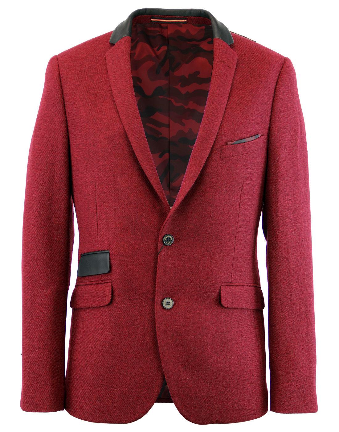 LUKE 1977 Soeron 2S Retro Mod Tweed 2 Button Blazer Jacket Shiraz f8596f678