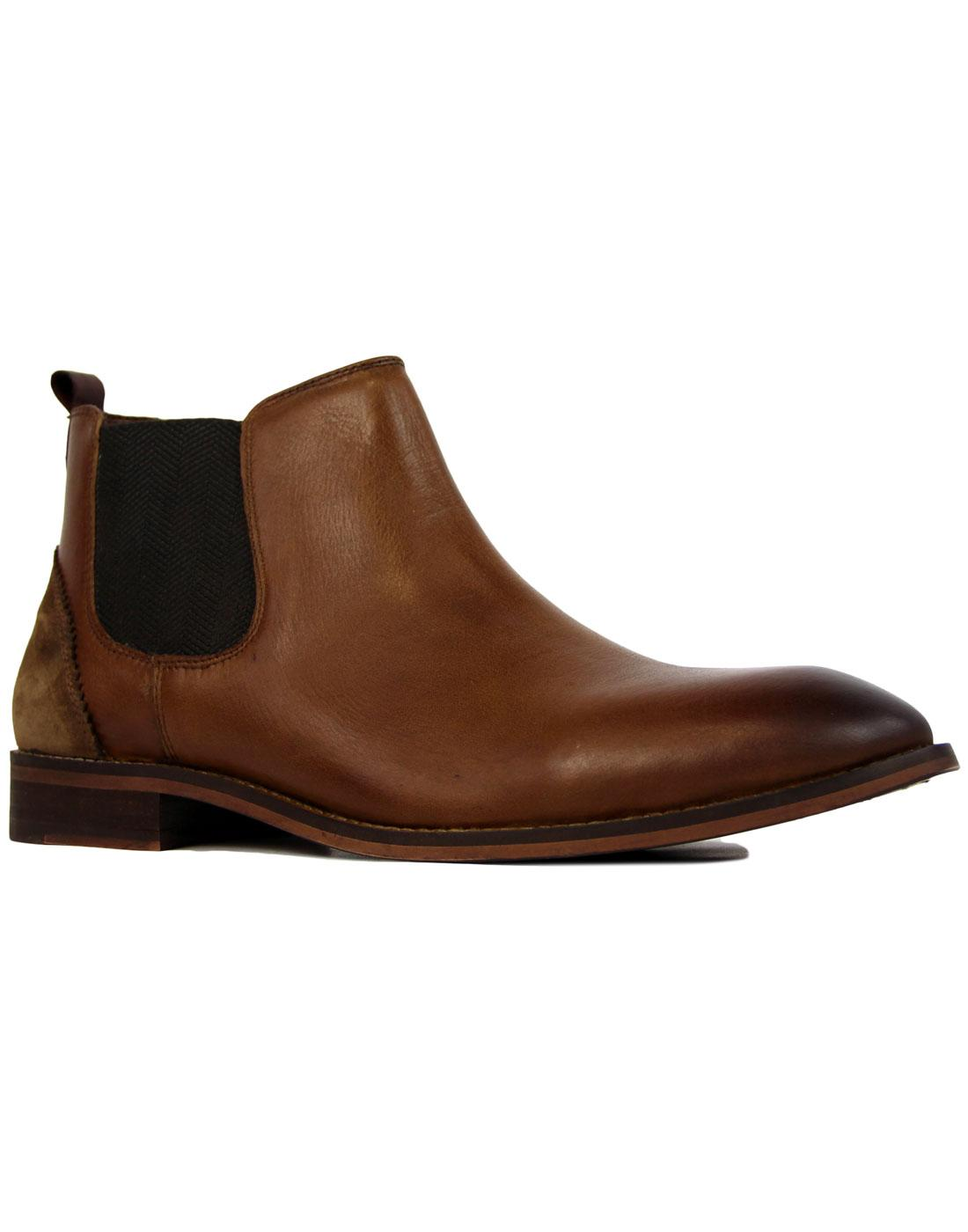 North LUKE 1977 Mens Mod Tan Leather Chelsea Boots