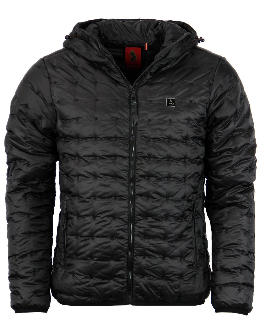 Paddie LUKE 1977 Retro Padded Ski Jacket in Black