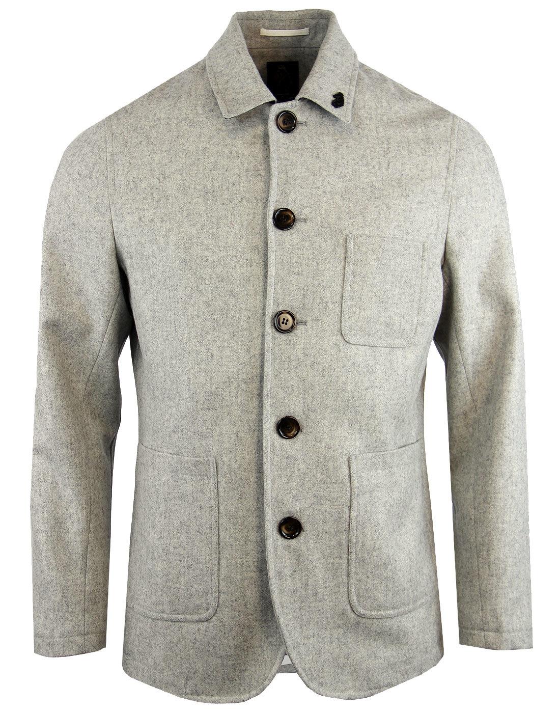 LUKE 1977 Bakerboy Retro 60s Mod Made In England Pea Coat in Grey 674b38321