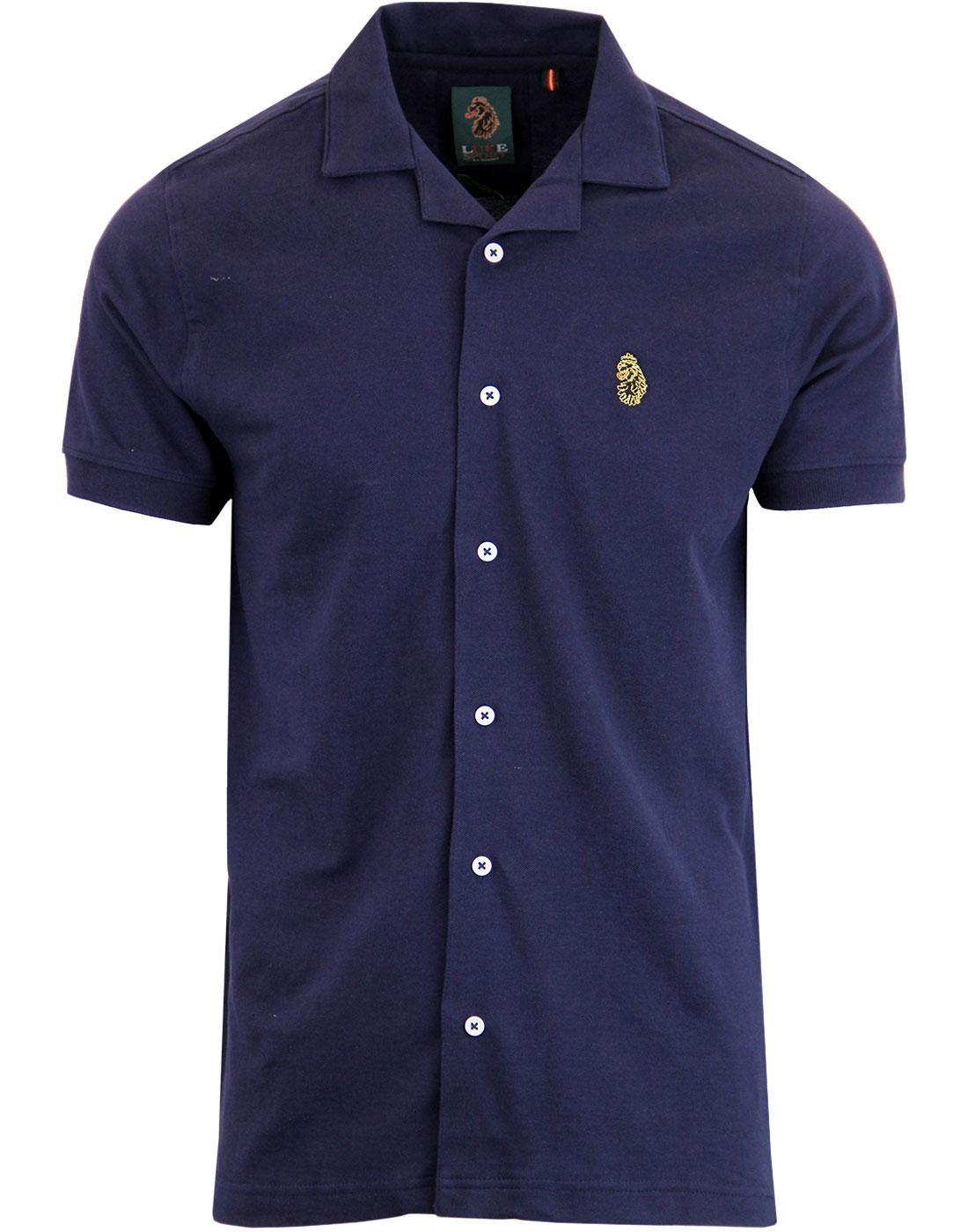 Barratt LUKE Retro 60's Cuban Collar Pique Shirt