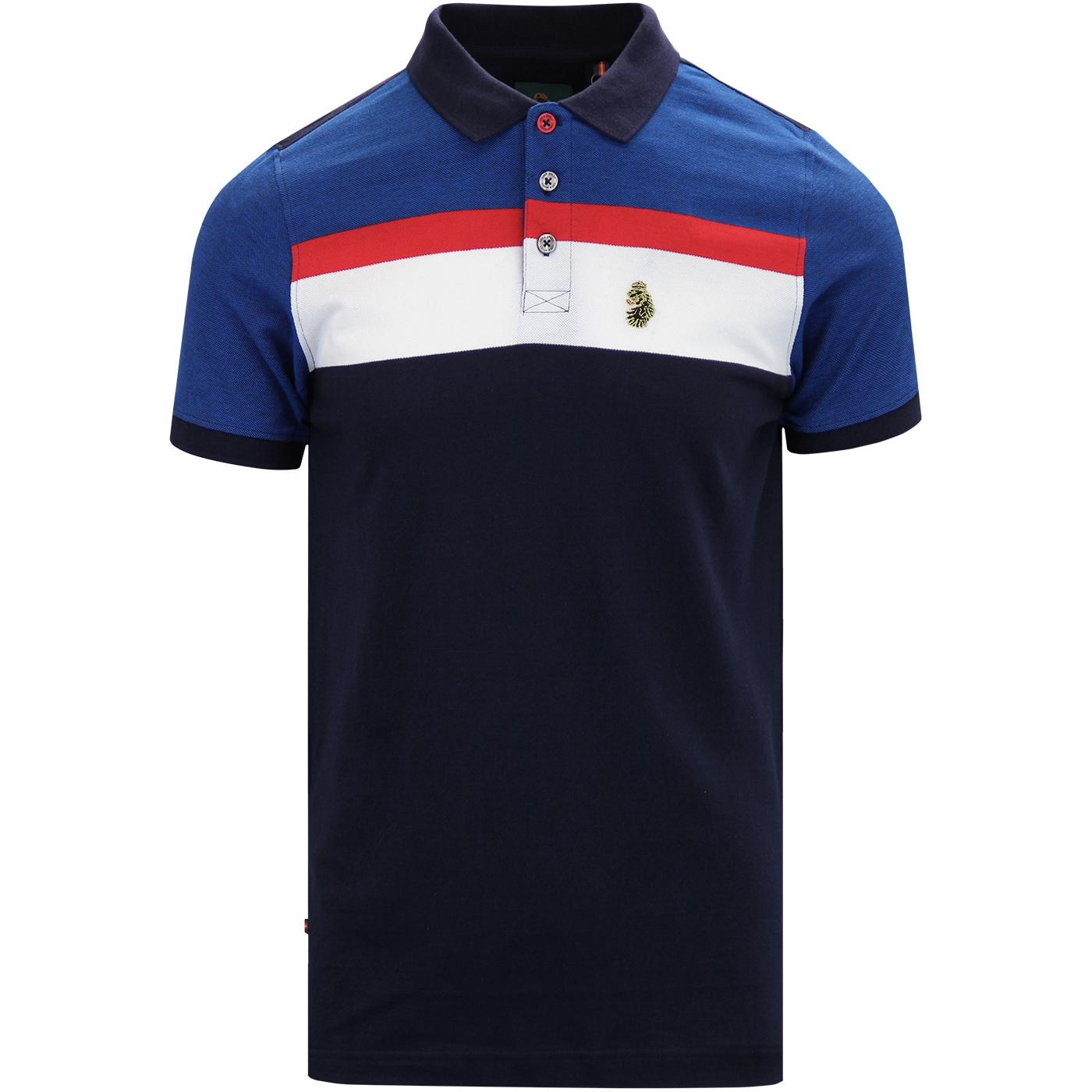 Grayson LUKE Retro Mod Stripe Panel Polo Top NAVY