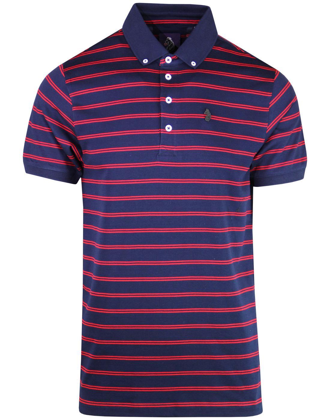 Jedory LUKE Mens Retro Mod Woven Stripe Polo Shirt