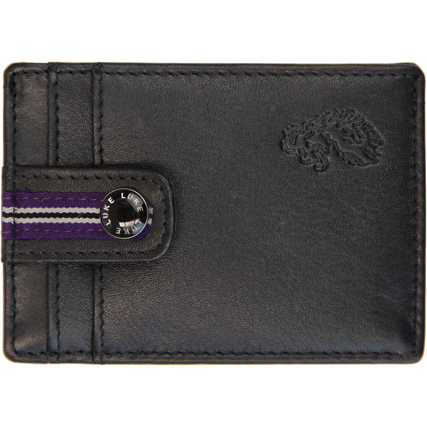 Kem LUKE Retro Tape Trim Leather Card Holder BLACK