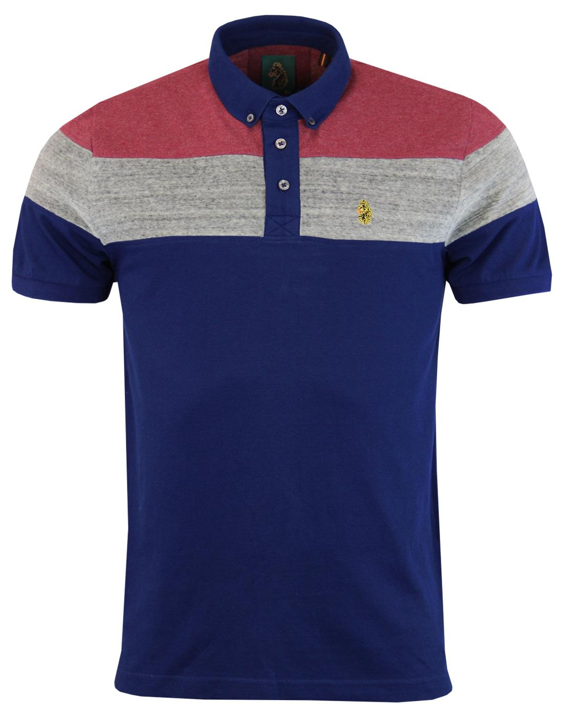 Mickey Velvet LUKE 1977 Retro Mod Panel Polo BLUE