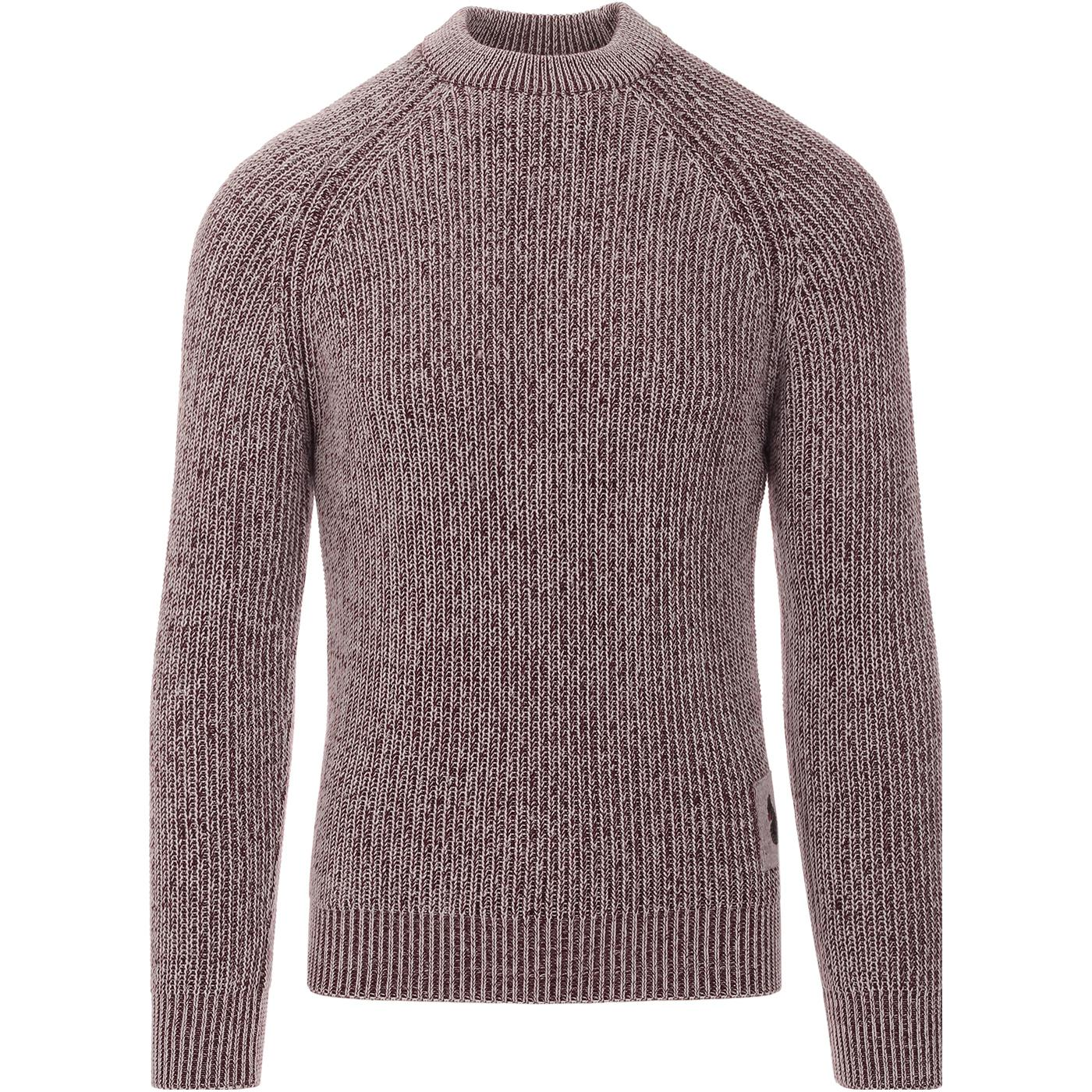 Plated LUKE Retro Ribbed Fisherman's Jumper - WINE