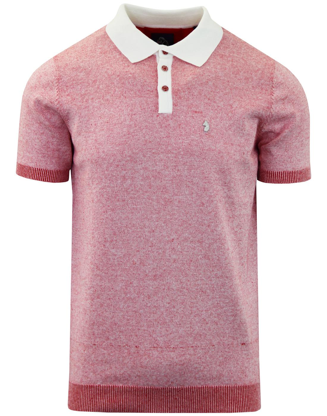 Plutonium LUKE Mod Marl Knit Panel Polo Top RED