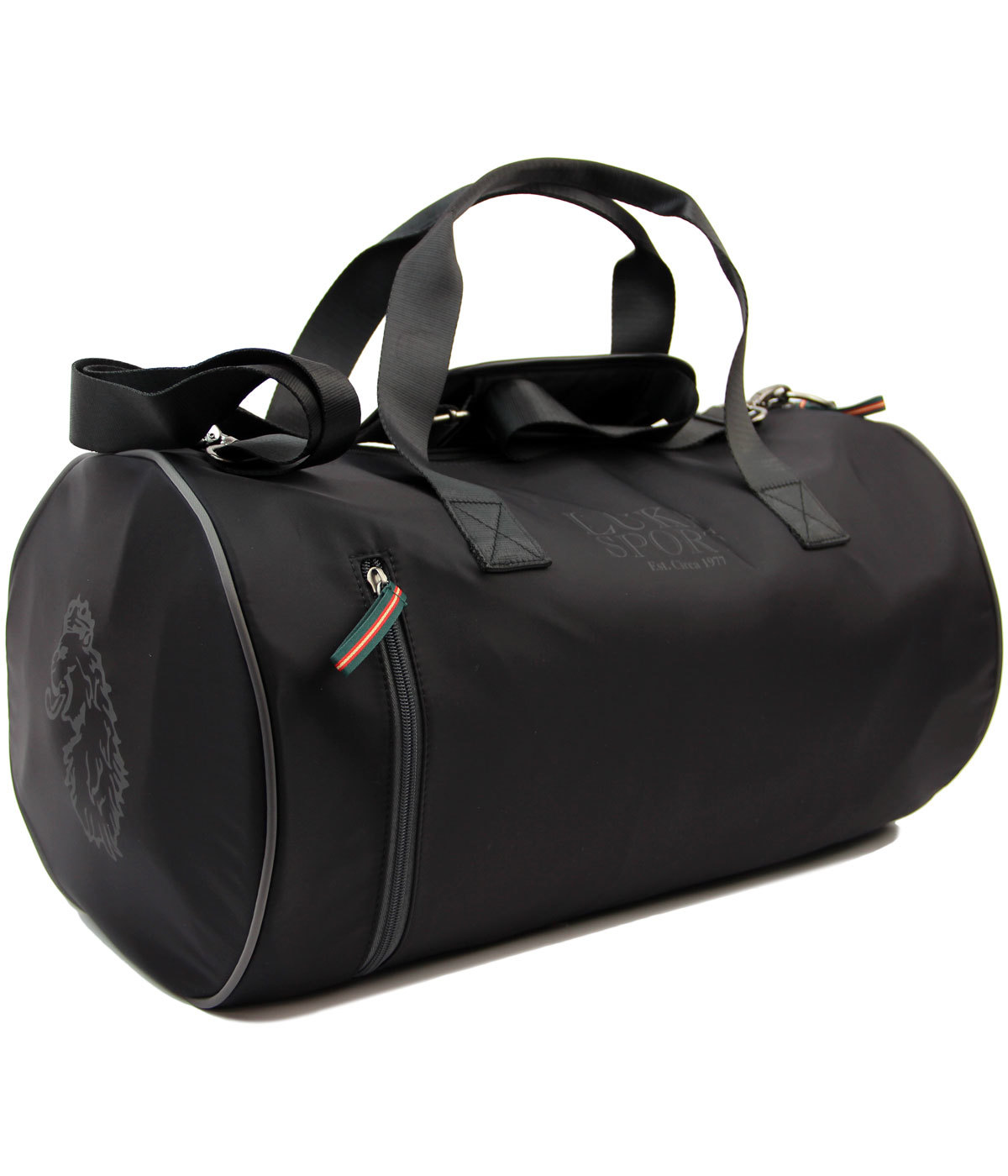LUKE SPORT Skelton Retro 1970s Gym HOldall Barrel Bag in Black 7798b91f8e