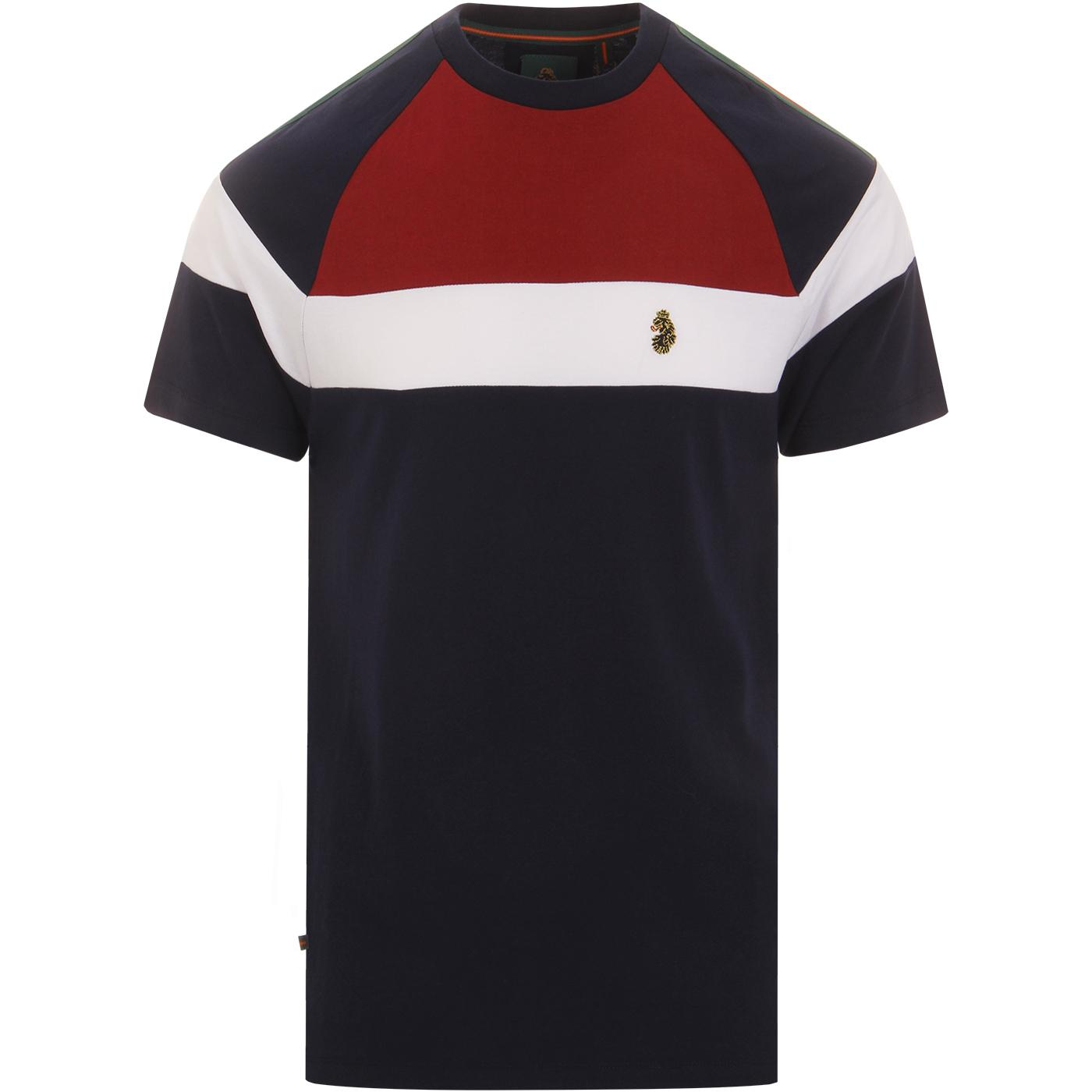 Teedam LUKE Mens Retro Colour Block T-shirt (Navy)