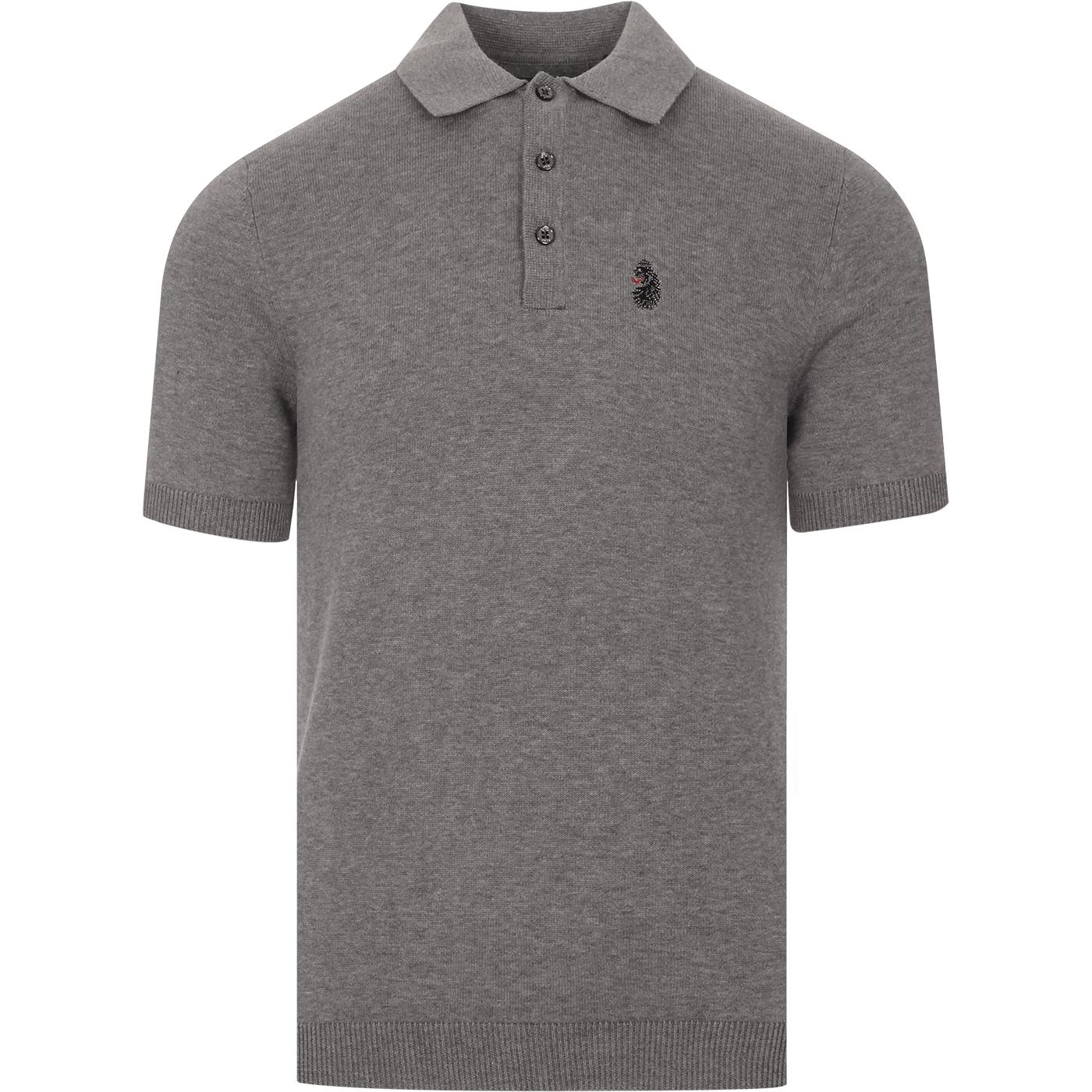 Tungsten LUKE Mod Smart Knit Polo Top (Mid Grey)