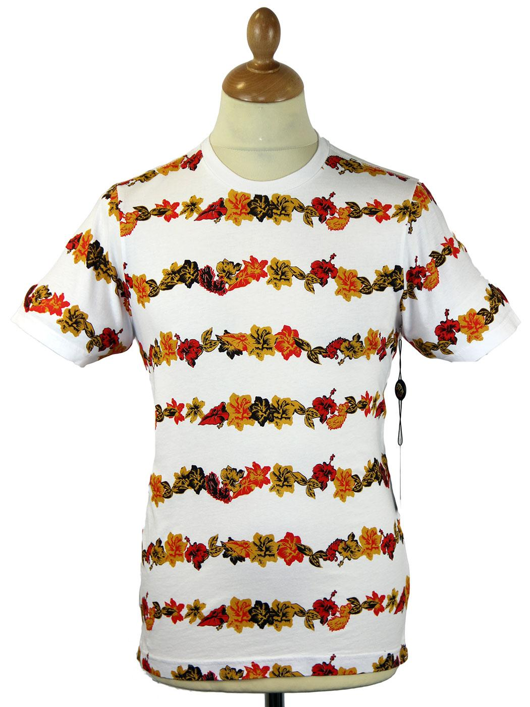 Vine LUKE 1977 Retro Mod Floral Stripe T-Shirt