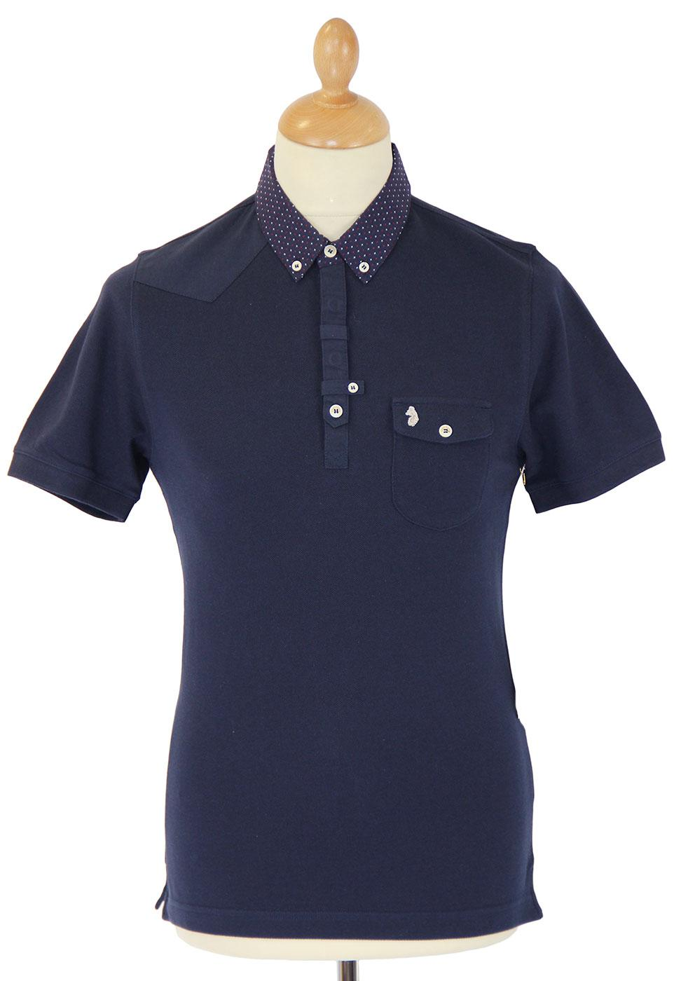 Razors LUKE 1977 Retro Mod Op Art Trim Polo Top DN