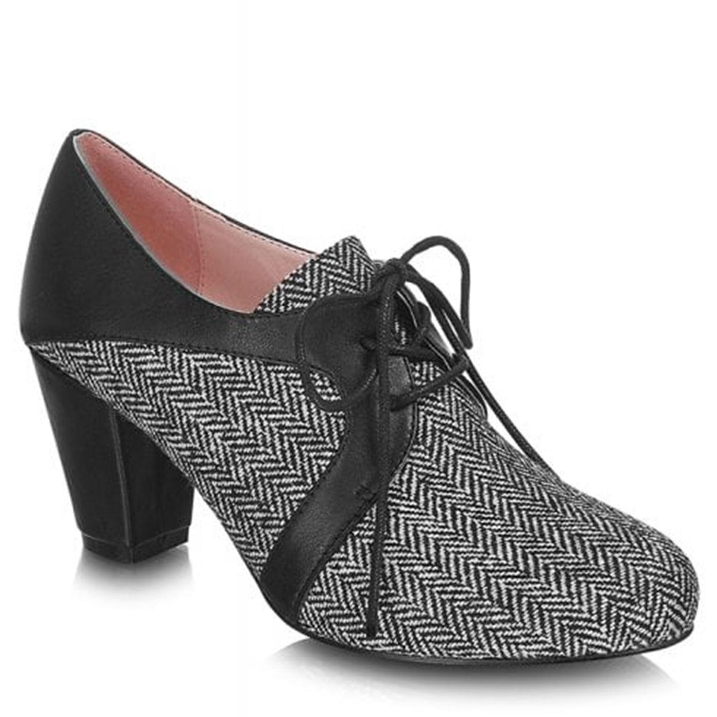 Alex LULU HUN 1940s Herringbone Shoe-Boots in Grey