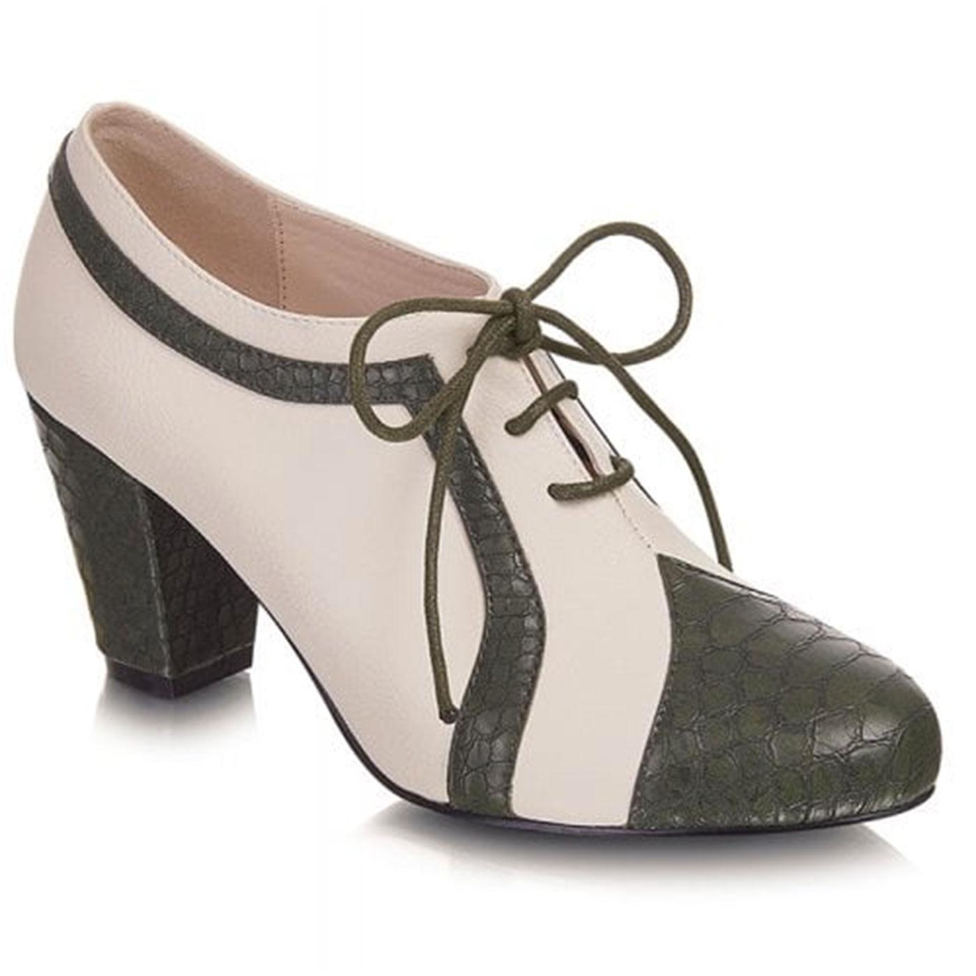 Amelia LULU HUN Vintage 1940s Heels Green/Ivory