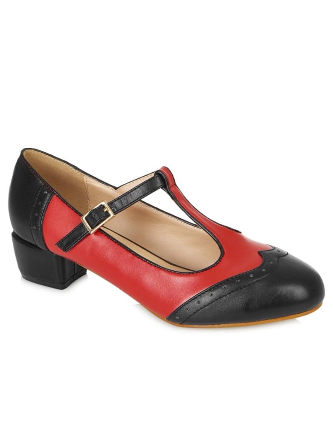 9eaf7c266f9e LULU HUN Georgia Retro Mod 60 s Spectator Shoes in Black Red