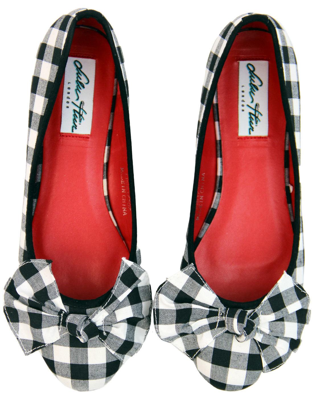 buy popular official images sale uk LULU HUN Naomi Retro 1950s Vintage Gingham Bow Flat Shoes Black