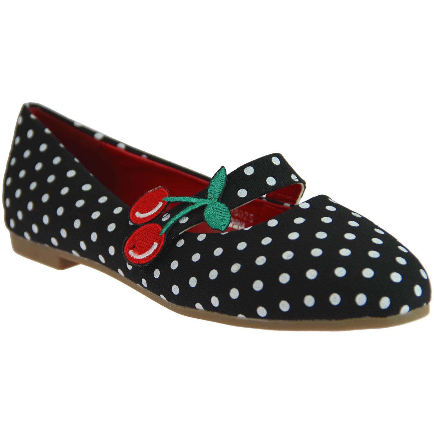 Sally LULU HUN Vintage 50s Cherry Polka Dot Flats