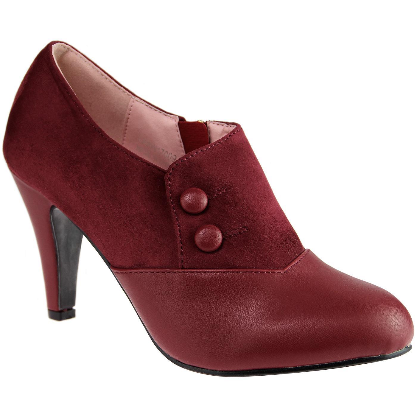 Maria LULU HUN Vintage Retro Heel Boots Burgundy