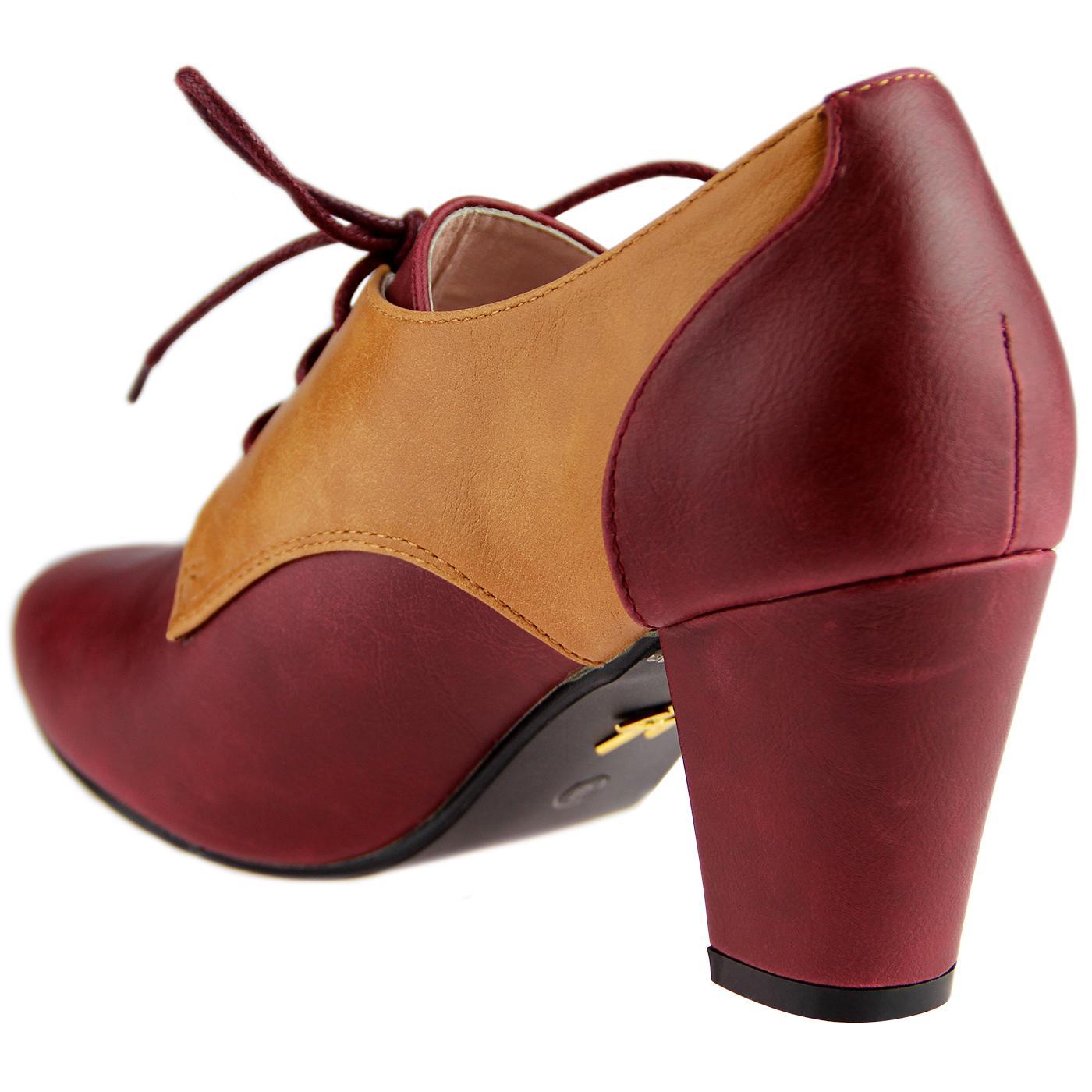 bad891cc2434 LULU HUN Vera Vintage 1940s Oxford Heels Burgundy