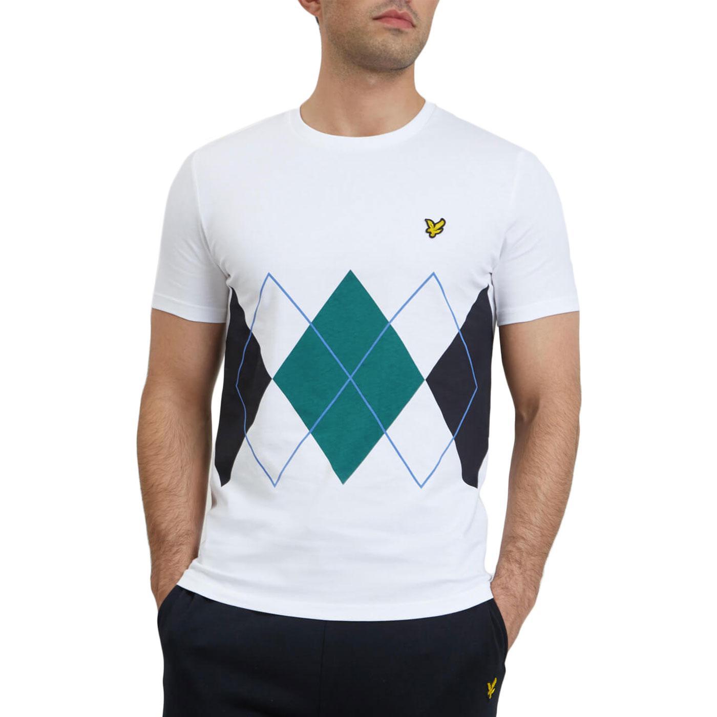 LYLE & SCOTT Retro Mod Argyle Print T-Shirt WHITE