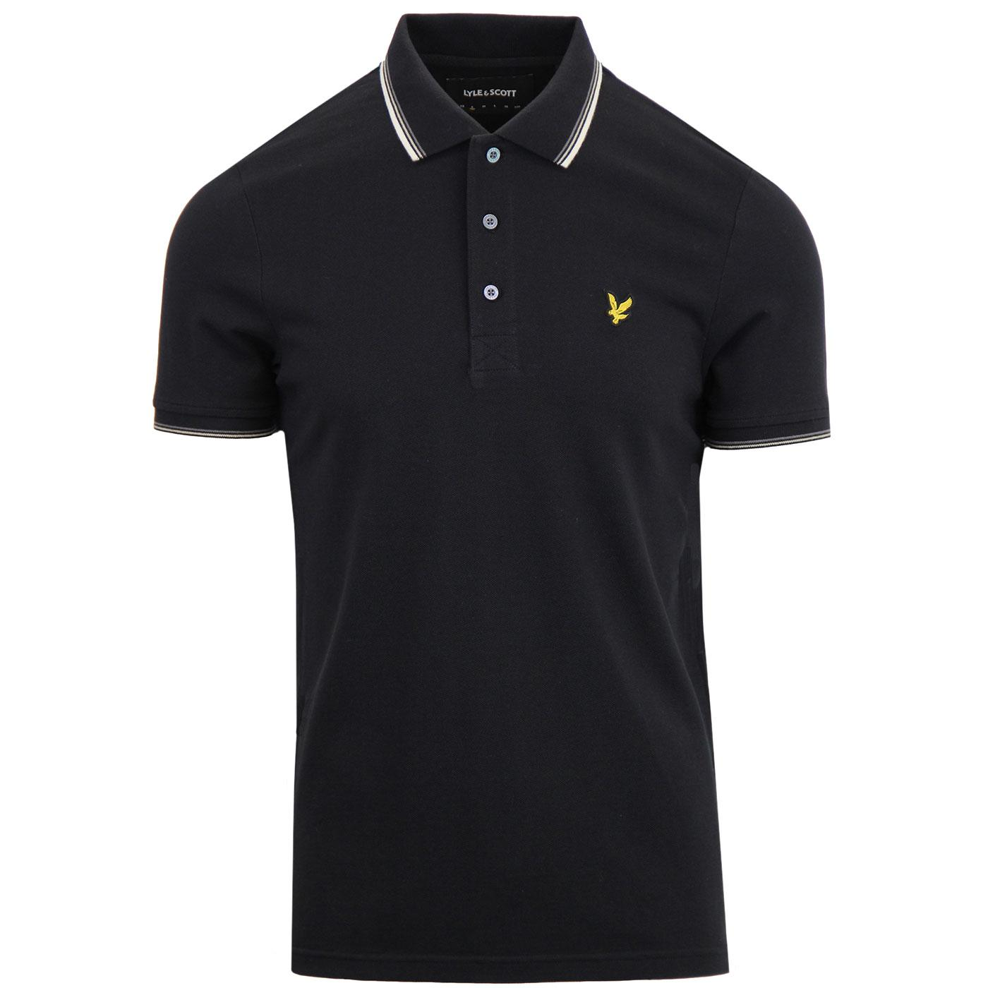 LYLE & SCOTT Retro Tipped Pique Polo Top (Black)