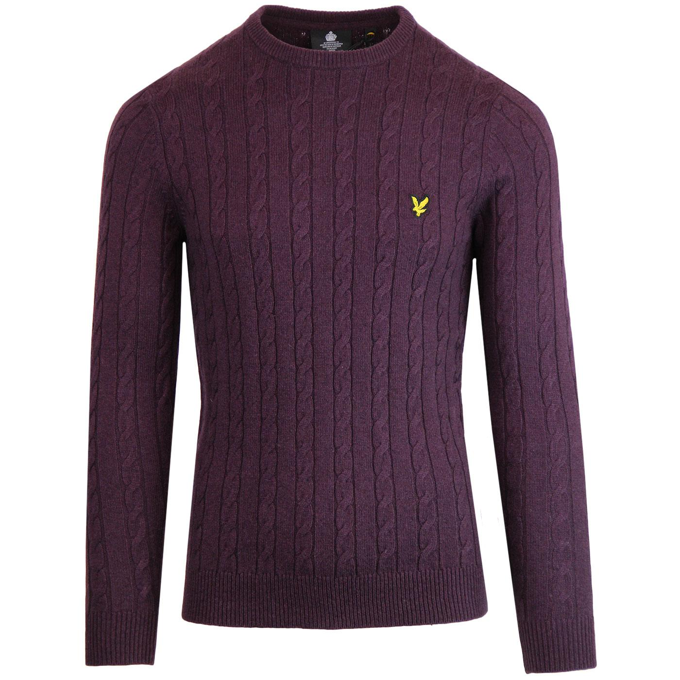 LYLE & SCOTT Retro Mod Cable Knit Jumper DEEP PLUM
