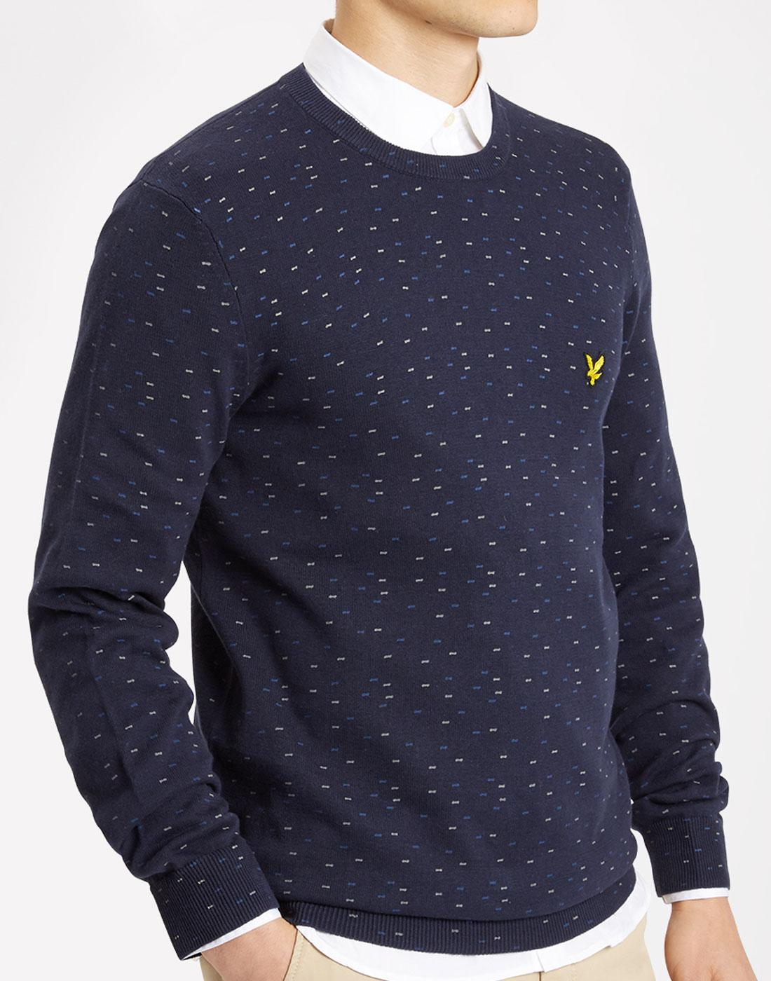LYLE AND SCOTT Retro 60s Mod Fil Coupe Jumper NAVY