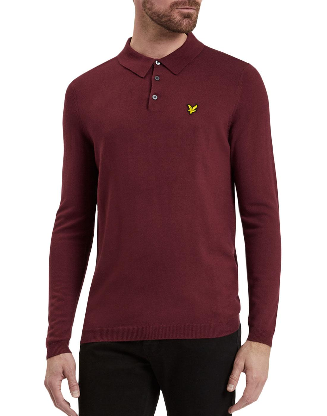 e35b1ee898ff LYLE   SCOTT Retro 60s Mod Long Sleeve Knitted Polo Shirt Claret