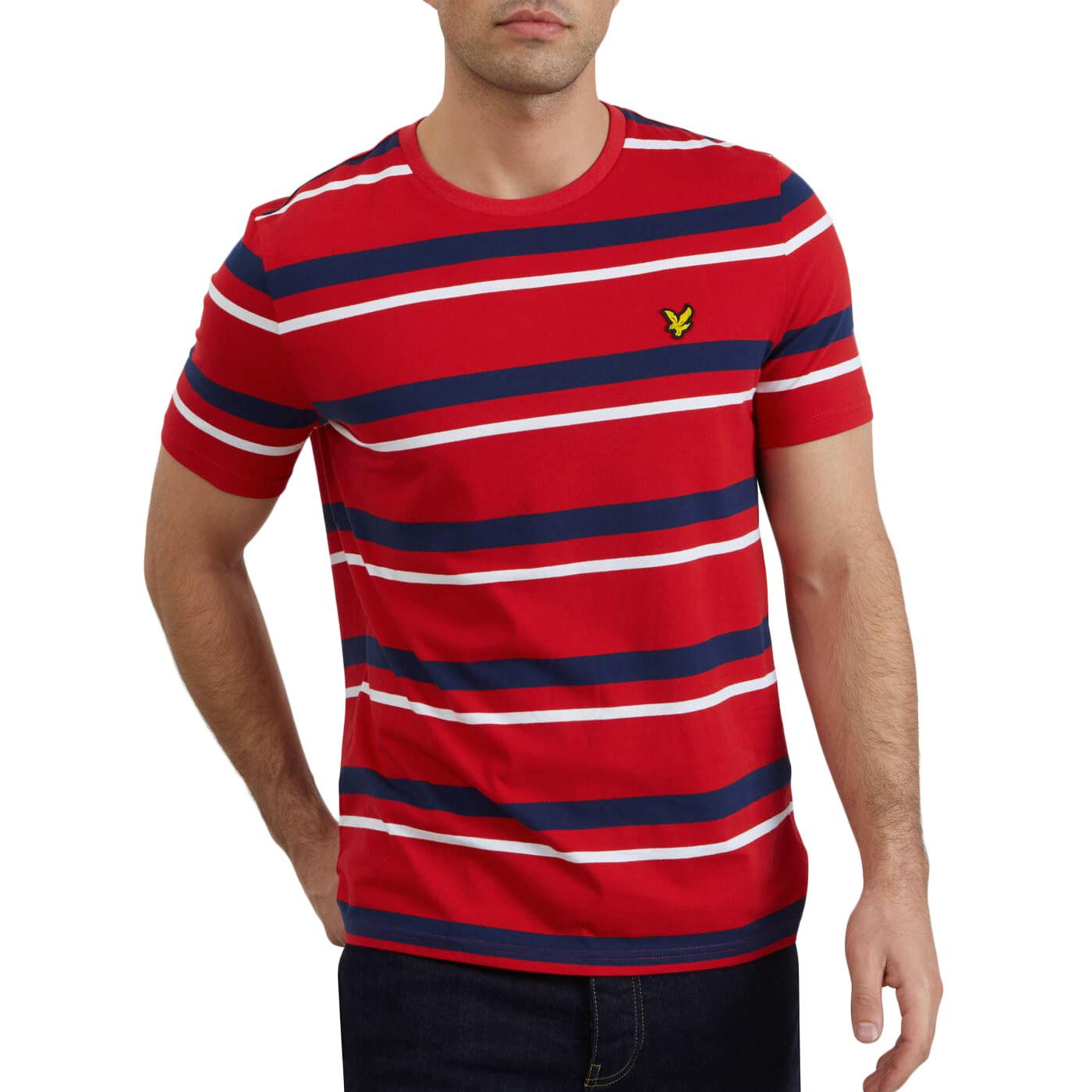 LYLE & SCOTT Retro Mod Multi Stripe T-shirt (Red)