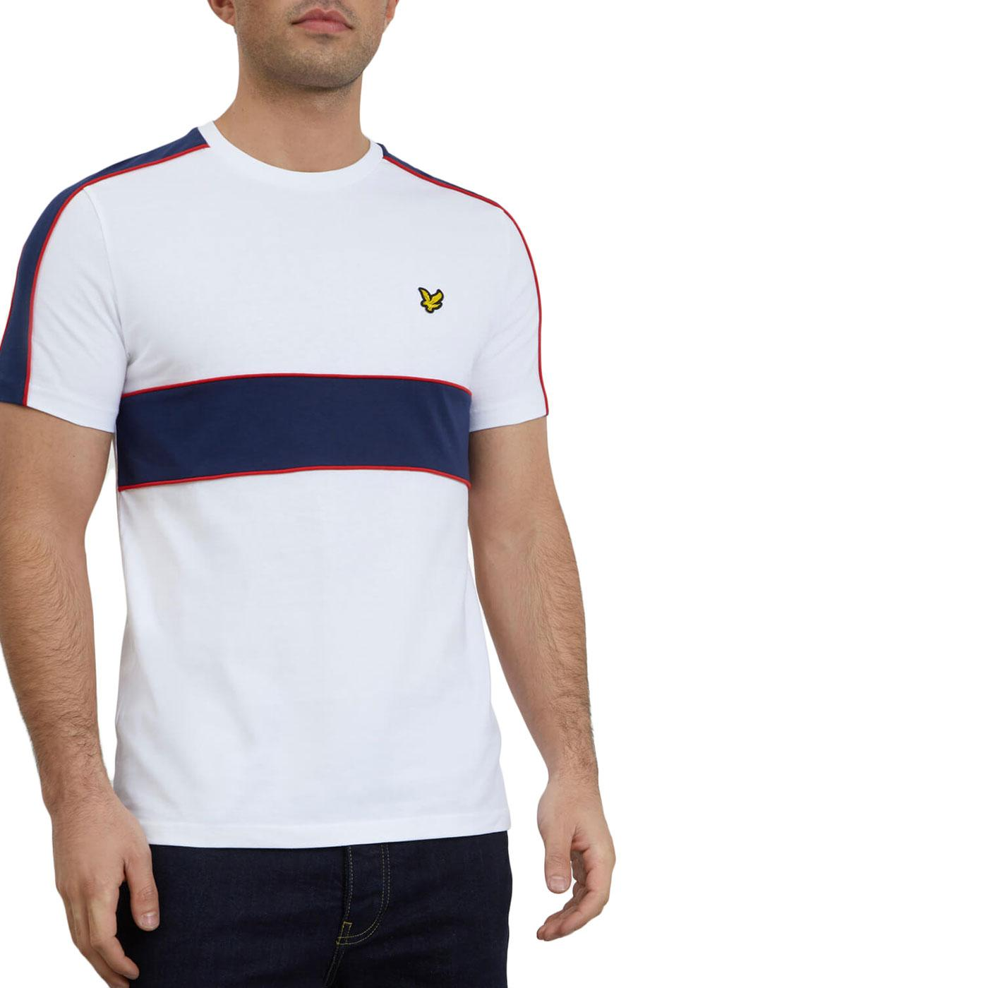LYLE & SCOTT Cut & Sew Retro 80s T-shirt (White)
