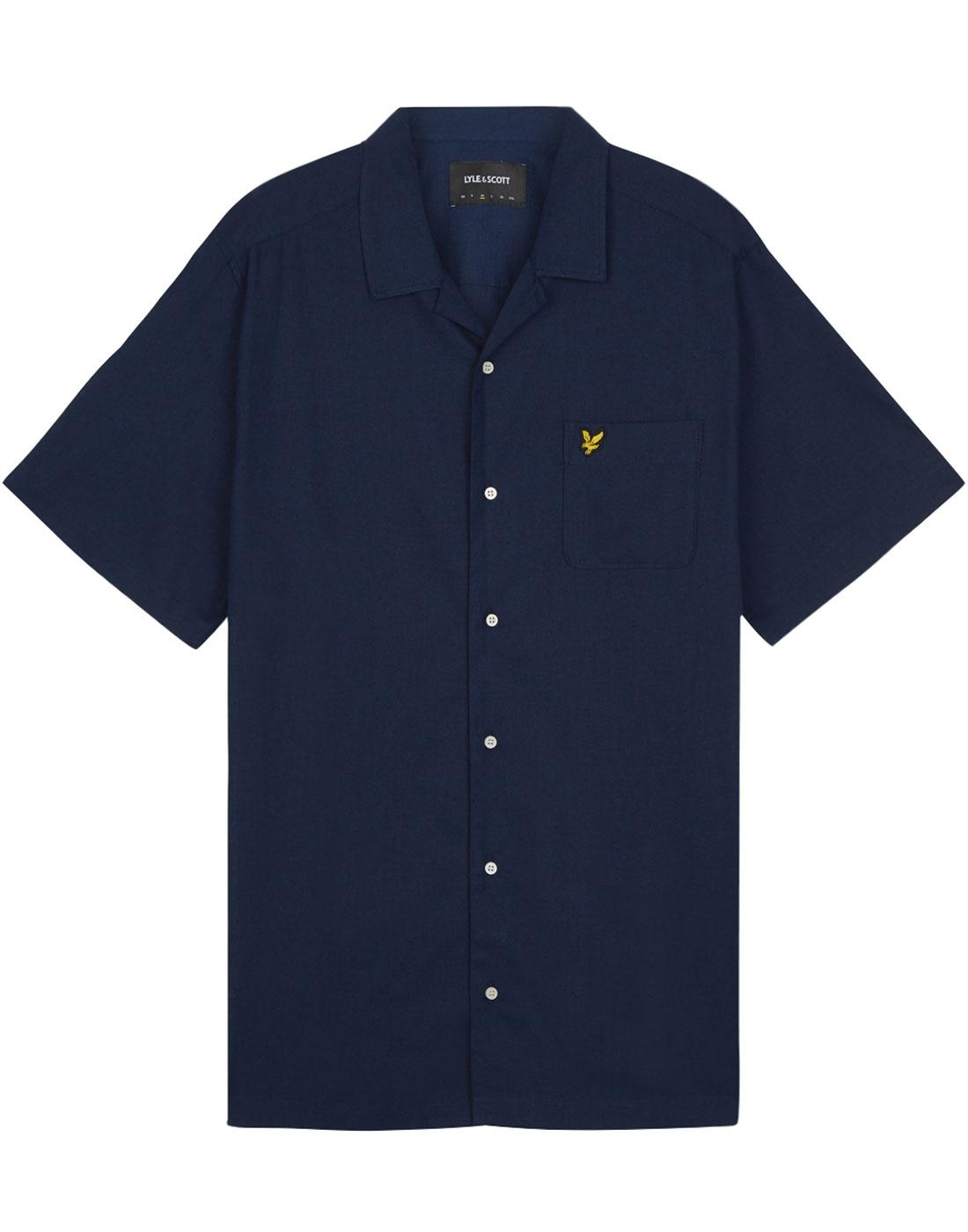 LYLE & SCOTT Retro 70s Resort Collar Linen Shirt N
