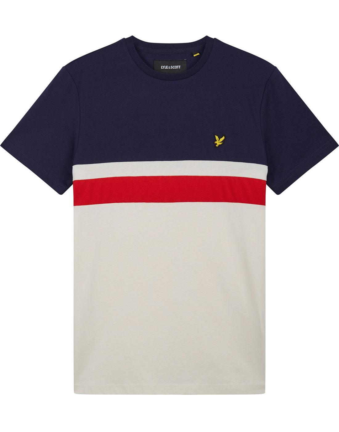 LYLE & SCOTT Retro Mod Yoke Stripe Panel Tee NAVY
