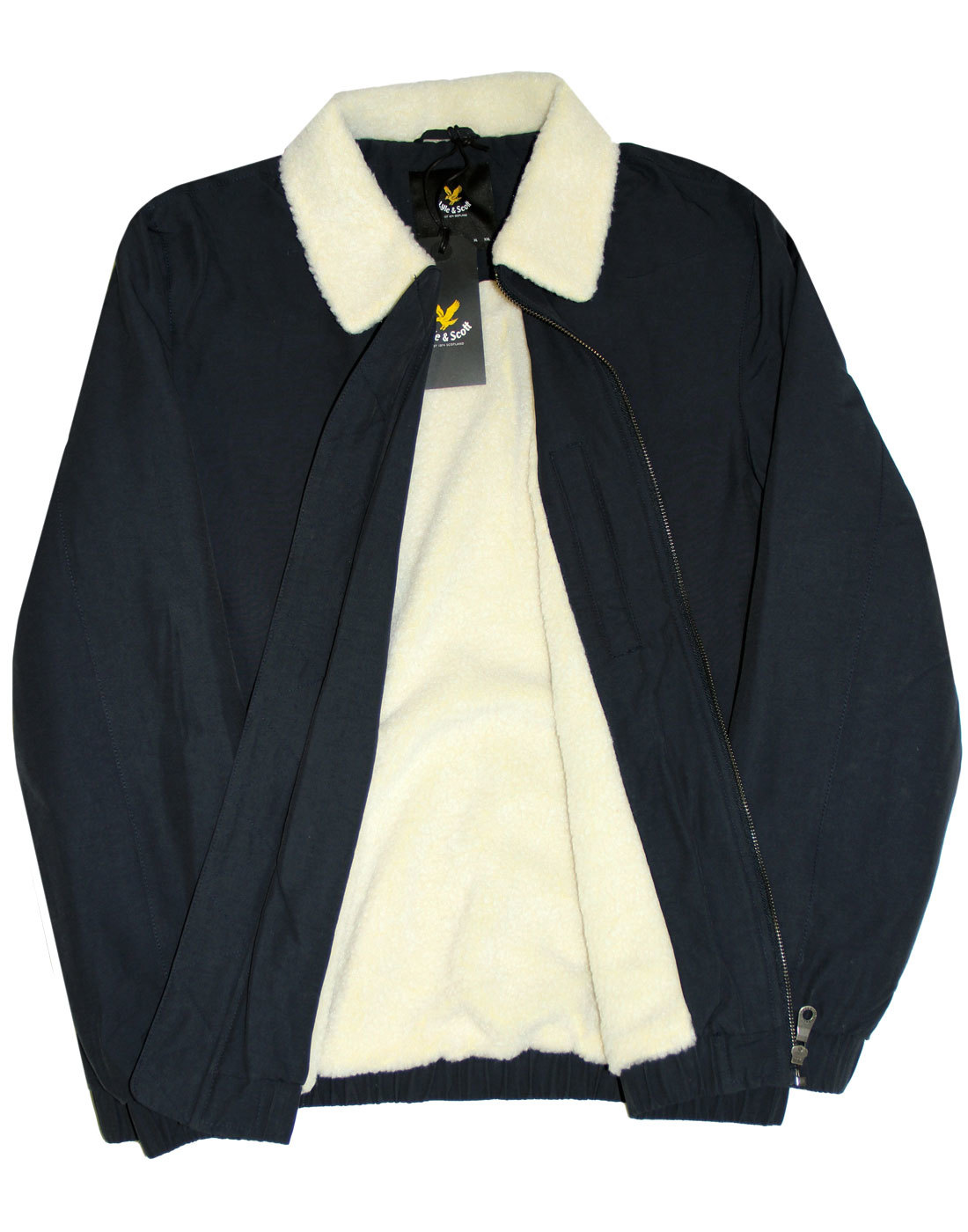 c94361105d1 LYLE   SCOTT Retro 70s Mod Shearling Lined Bomber Jacket in Navy