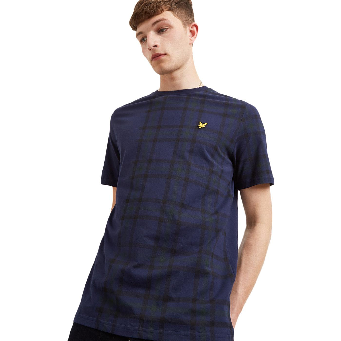 LYLE & SCOTT Retro 70s Tartan Block Check Tee NAVY
