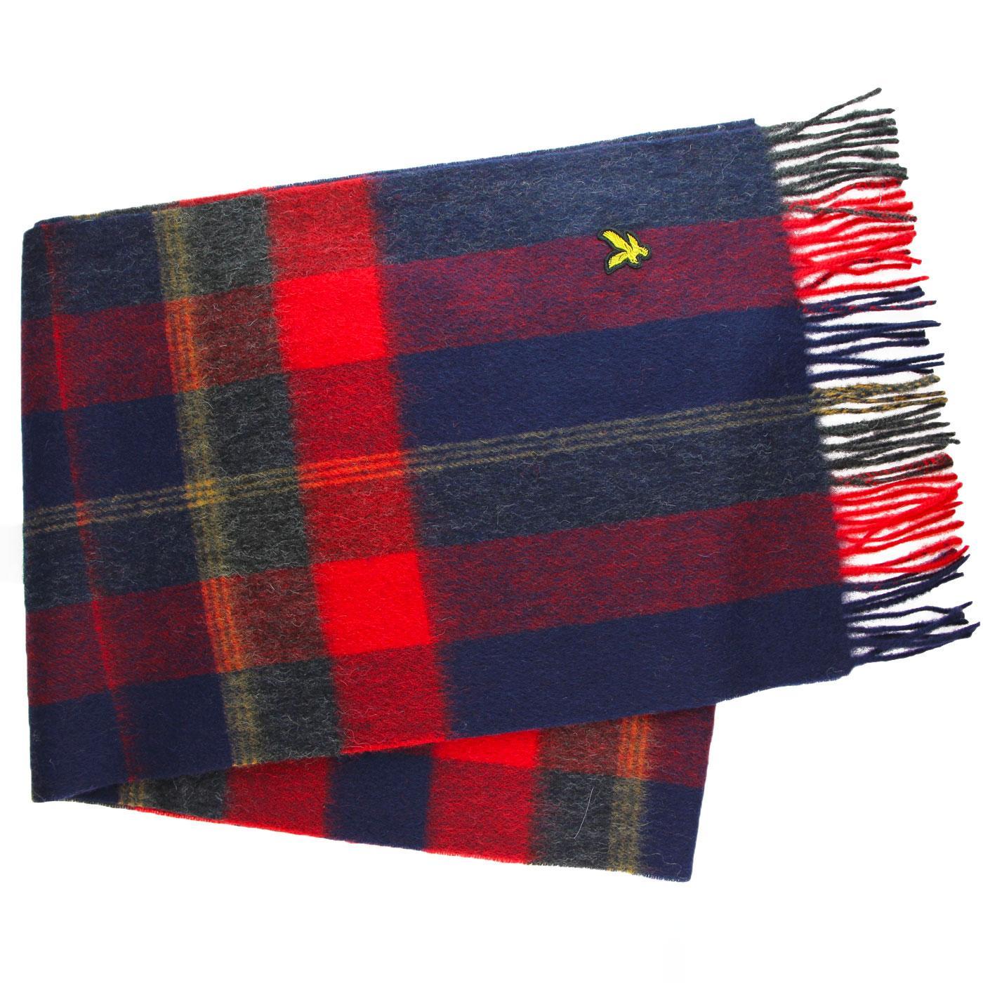 LYLE & SCOTT Retro Mod Tartan Wool Scarf (Navy)