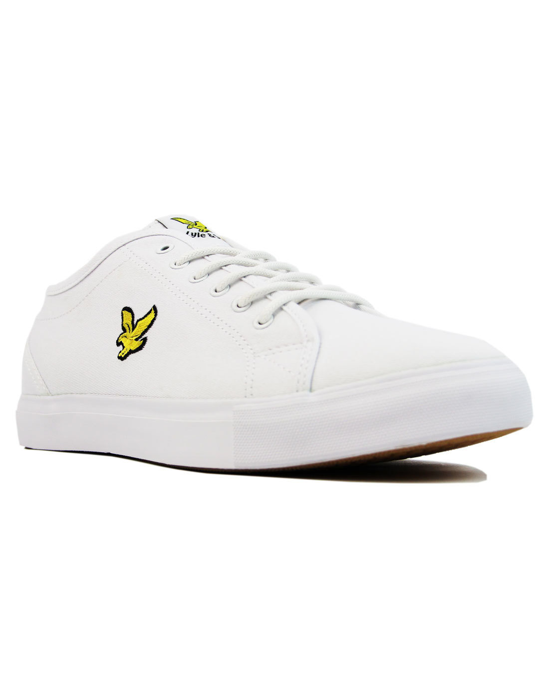 d6111d1a3cb1 LYLE   SCOTT Teviot Twill Retro 70s Canvas Tennis Trainers White