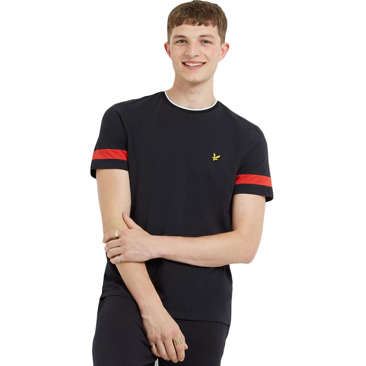 LYLE & SCOTT Retro 90s Tipped Sleeve Crew Tee B/R