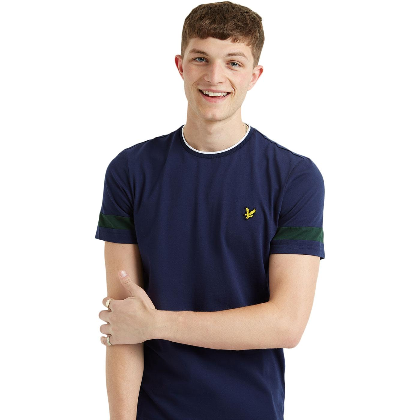 LYLE & SCOTT Retro 90s Tipped Sleeve Crew Tee NAVY