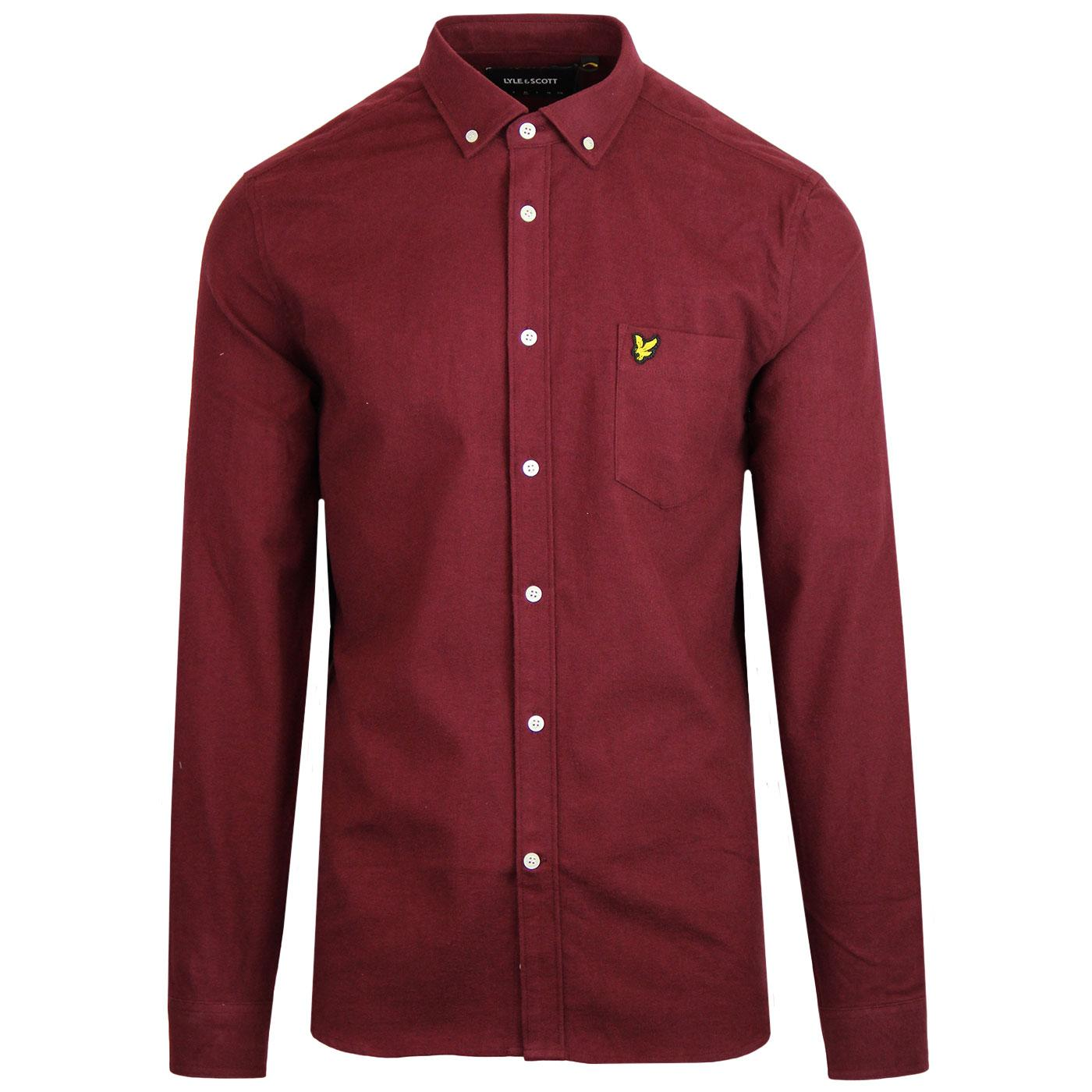 LYLE & SCOTT 60s Mod Winter Flannel Shirt (Claret)
