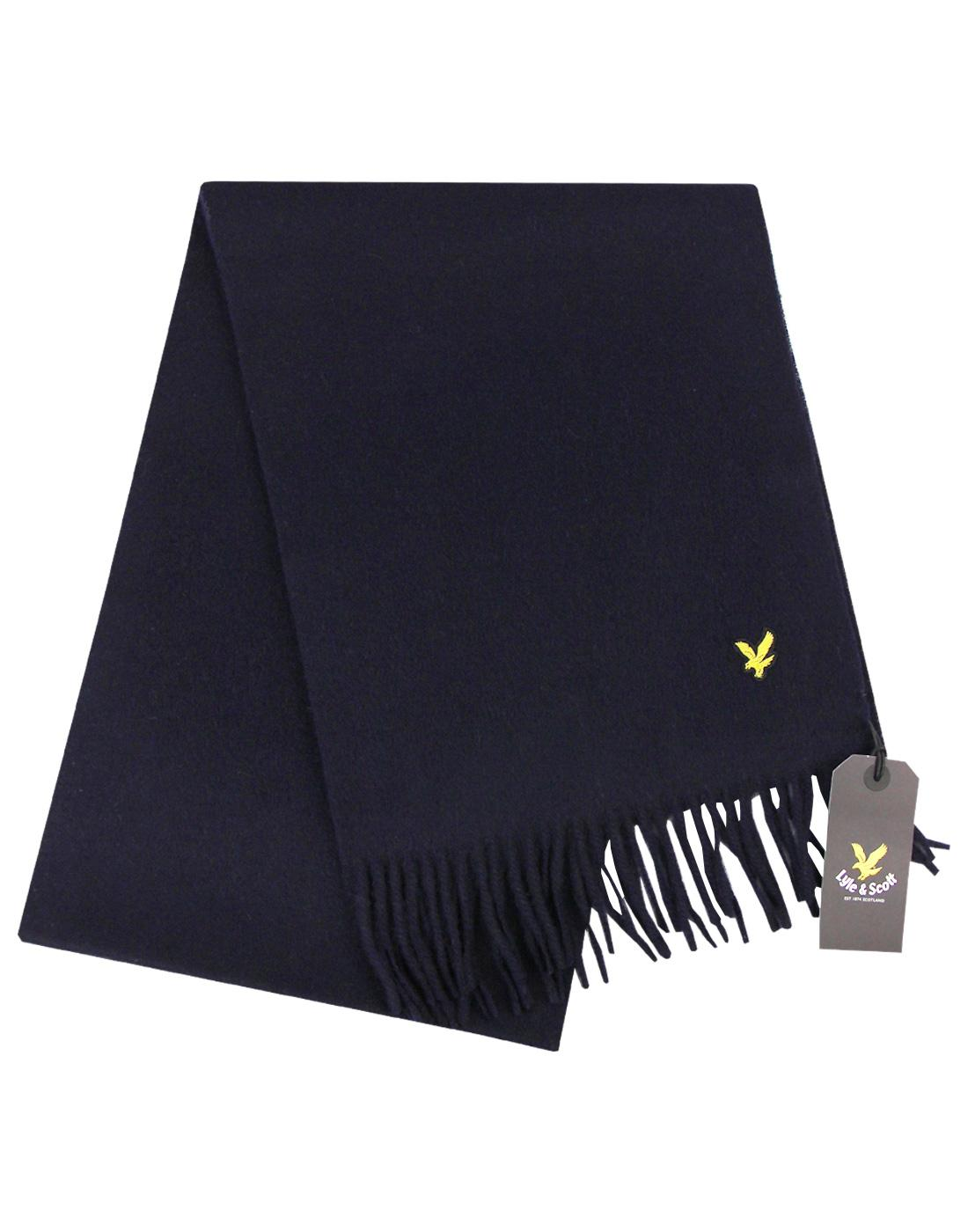 Lyle & Scott Mens Retro Plain Lambswool Scarf NAVY