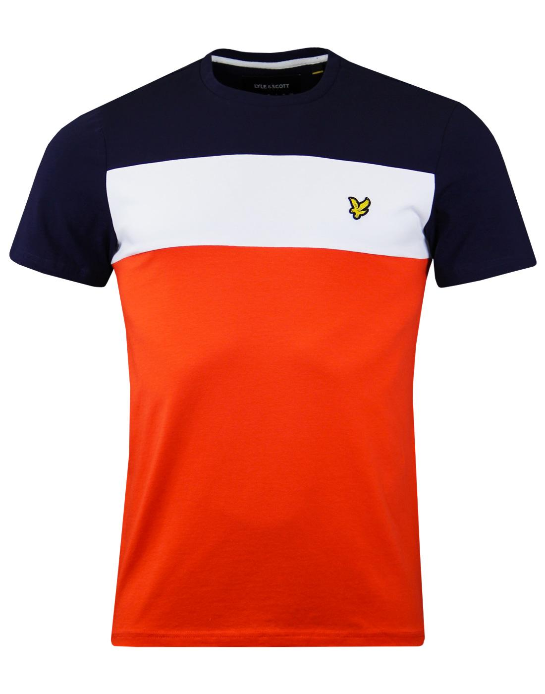 LYLE & SCOTT Retro 80s Colour Block Tee PAPRIKA