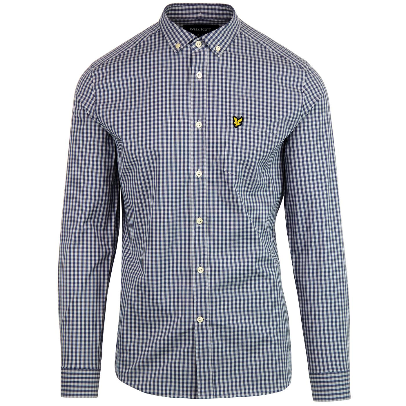 LYLE & SCOTT Mens Retro Mod Gingham Shirt - Blue